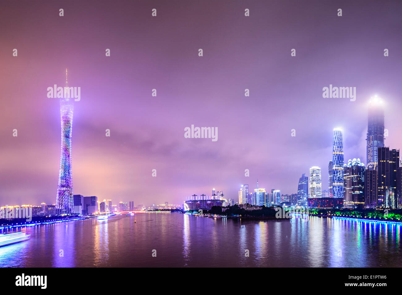 Guangzhou, China skyline on the Pearl River. - Stock Image