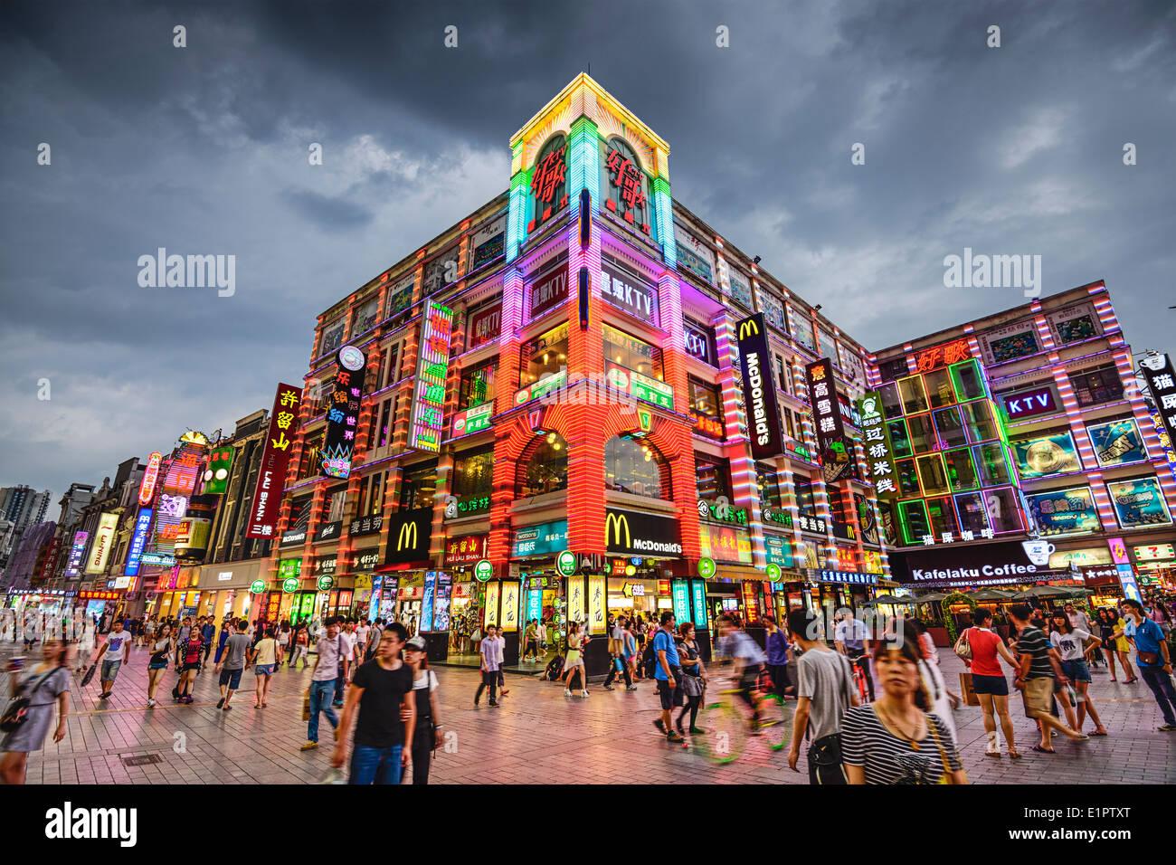 Shangxiajiu Pedestrian Street in Guangzhou, China. - Stock Image