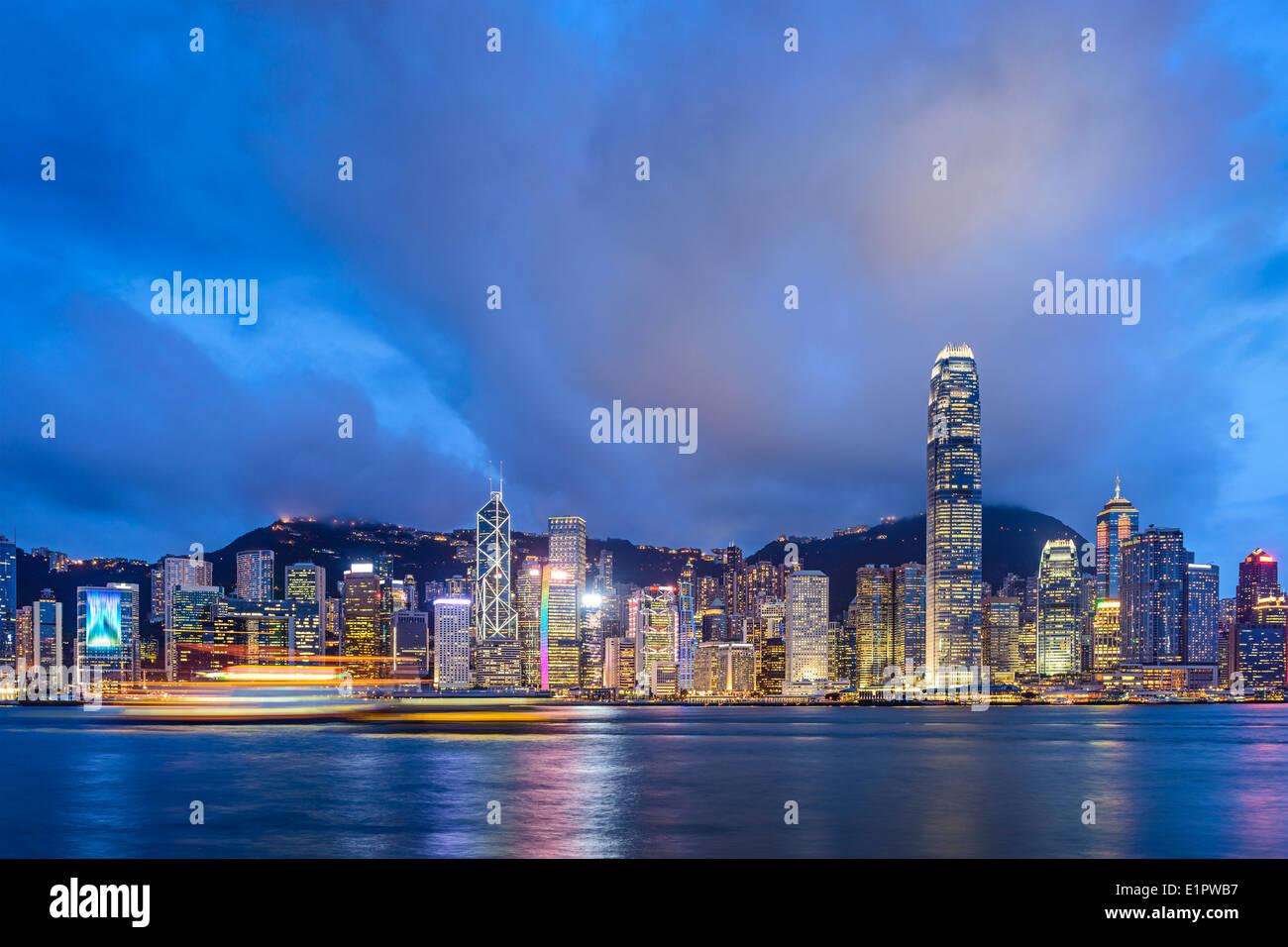 Hong Kong, China at Victoria Harbor. - Stock Image