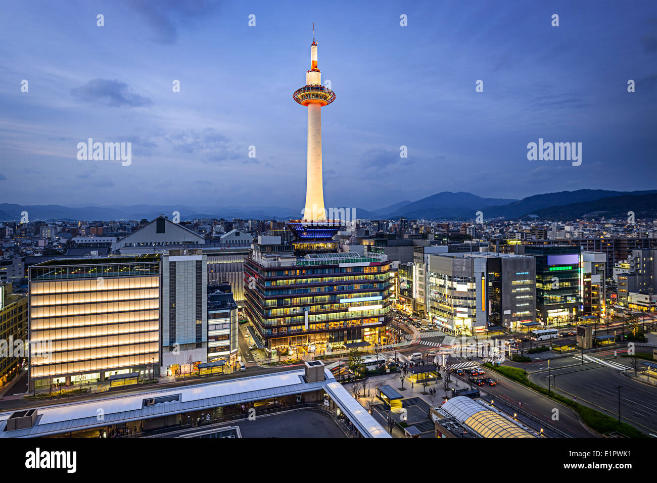 Kyoto, Japan modern skyline. - Stock Image