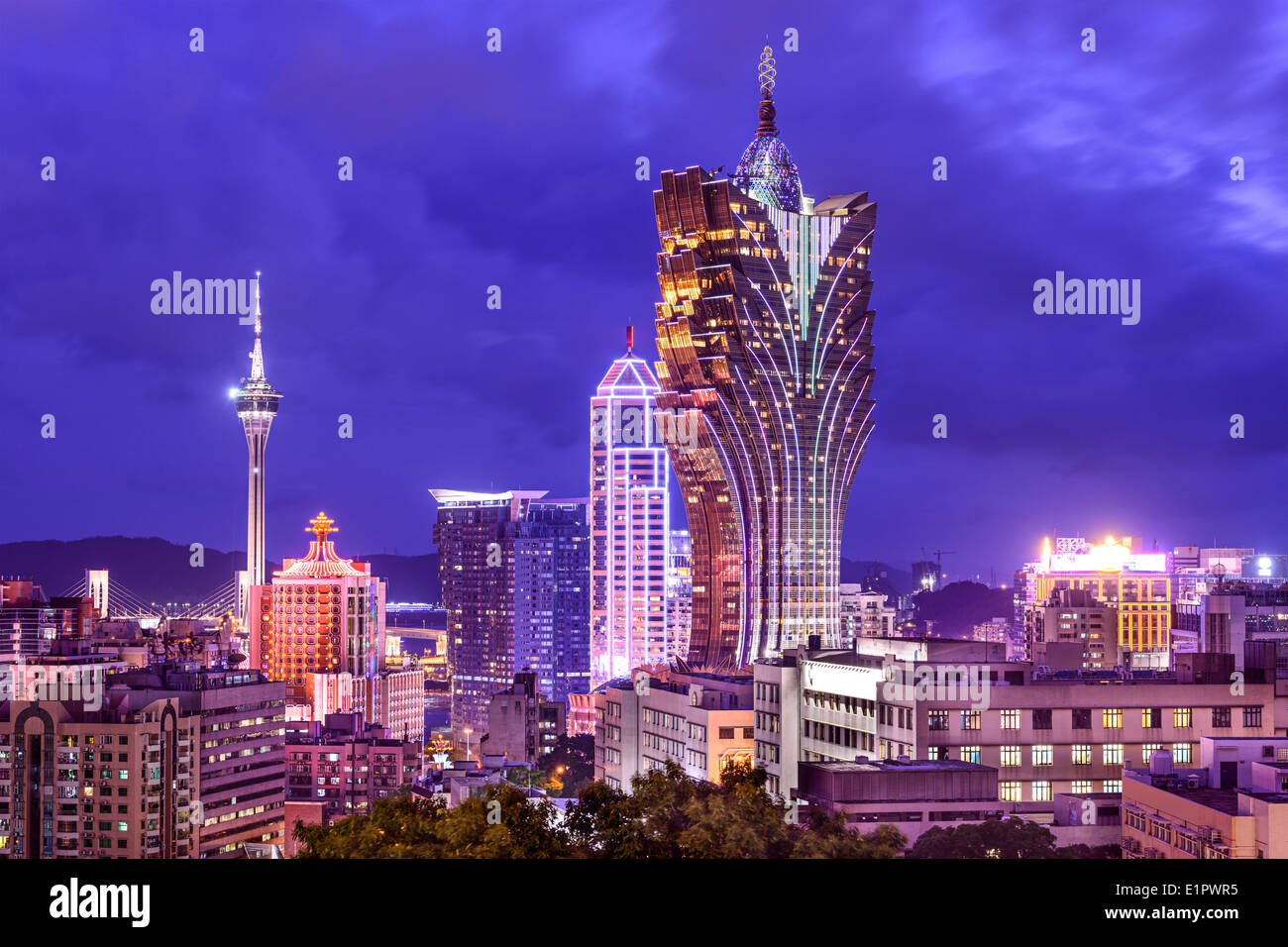 Macau, China casino cityscape. - Stock Image