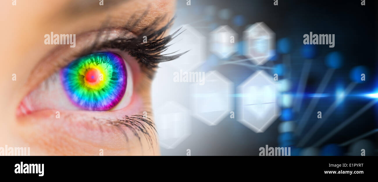 Composite image of psychedelic eye looking ahead on female face - Stock Image