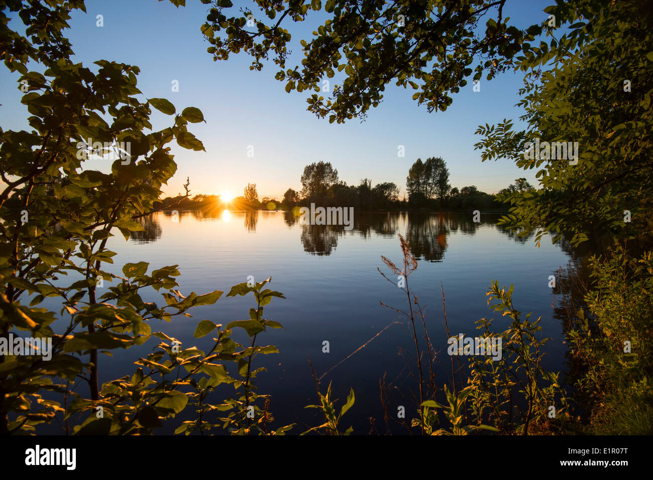 Dusk at St Chad's Water, in Church Wilne near Draycott in Derbyshire England UK - Stock Image
