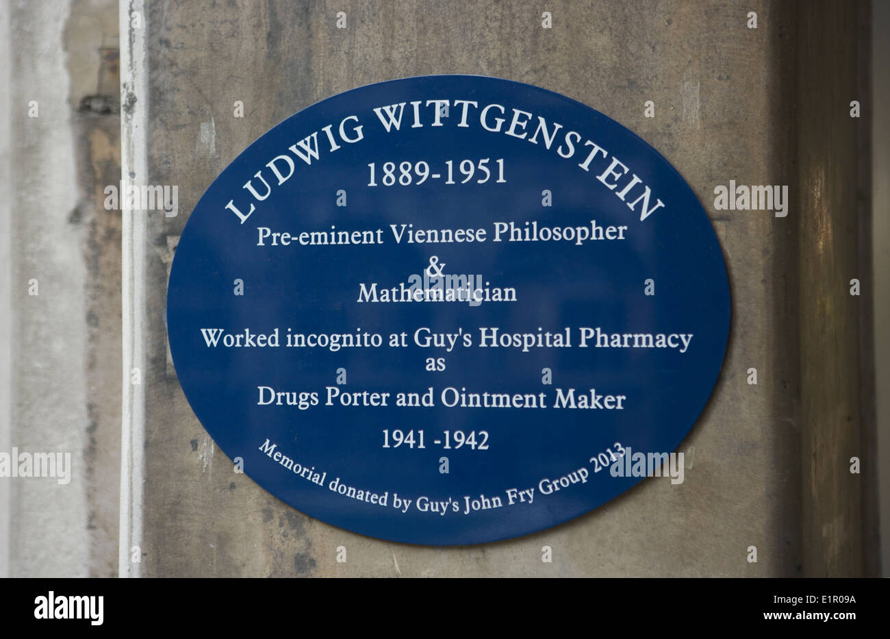Ludwig Wittgenstein worked incognito at Guy's Hospital pharmacy - Stock Image
