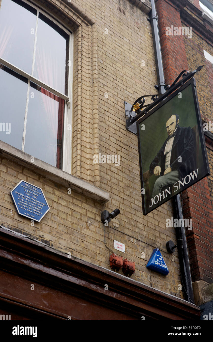 Broad Street Pump. Site of Dr John Snow's discovery of source of cholera - Stock Image
