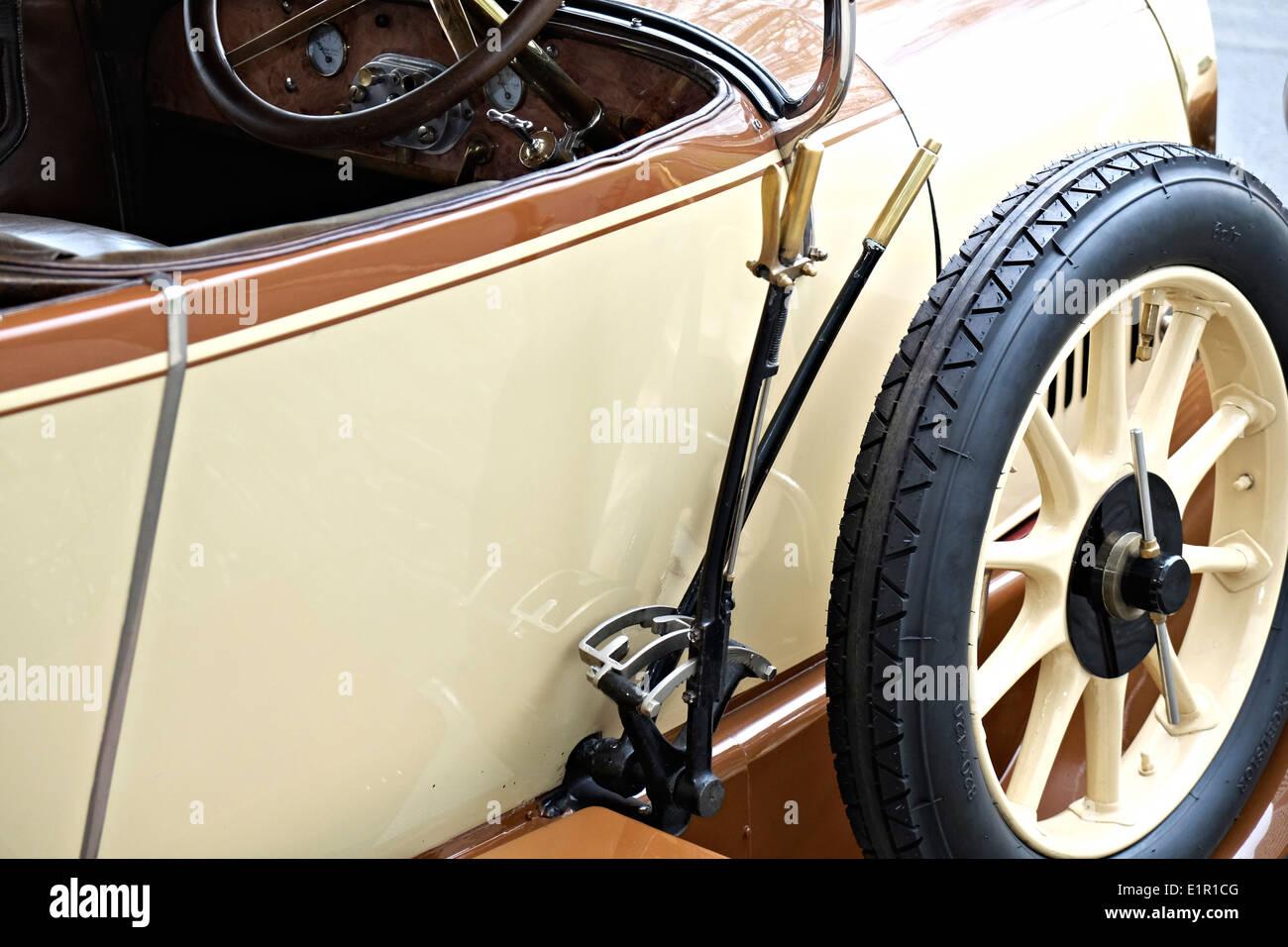 parking brake of an pre-war car,Opel 8/20 Spitzkühler,1920 - Stock Image