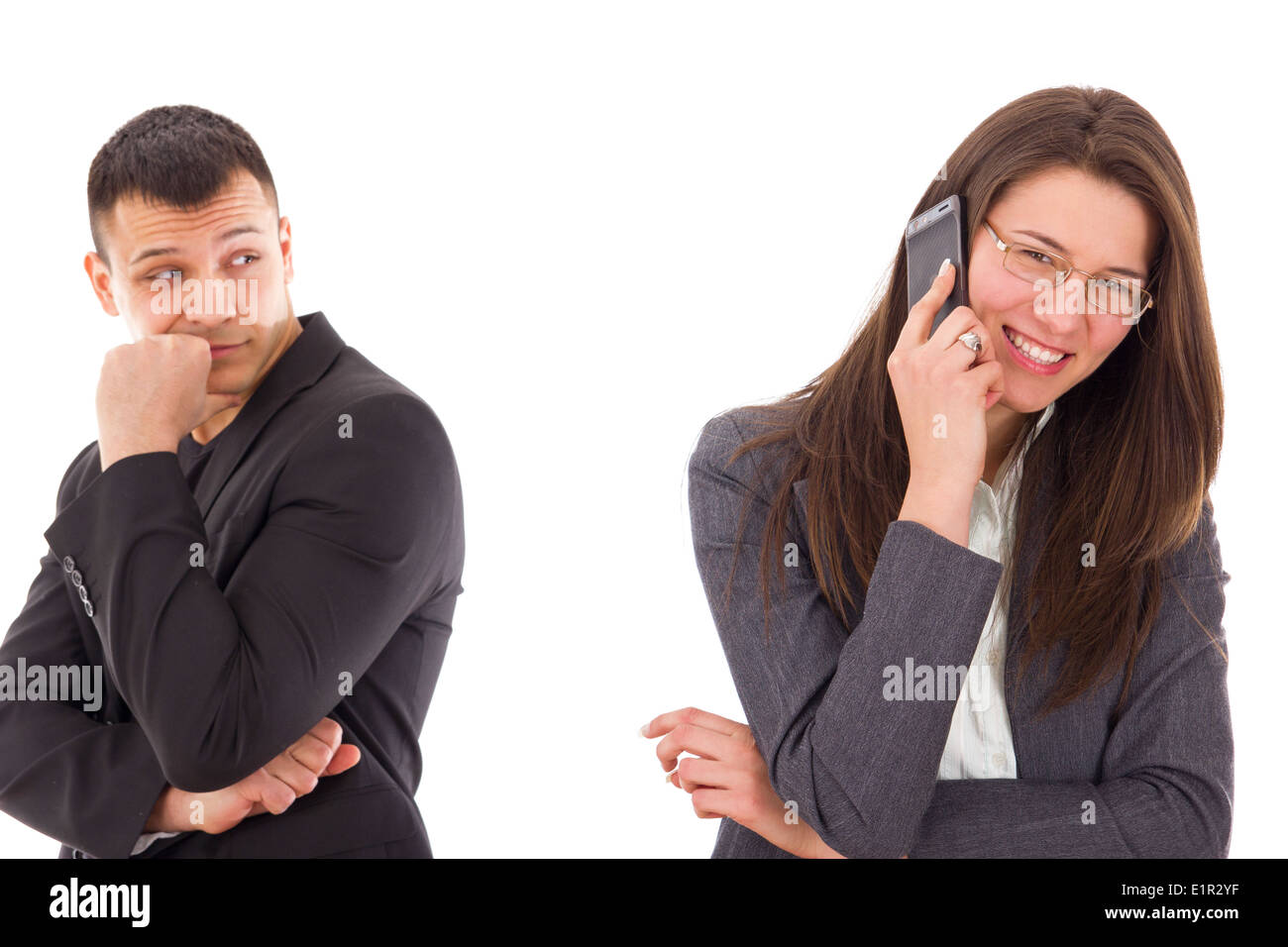 jealous man suspecting his woman is unfaithful and having secrets, couple with problems - Stock Image