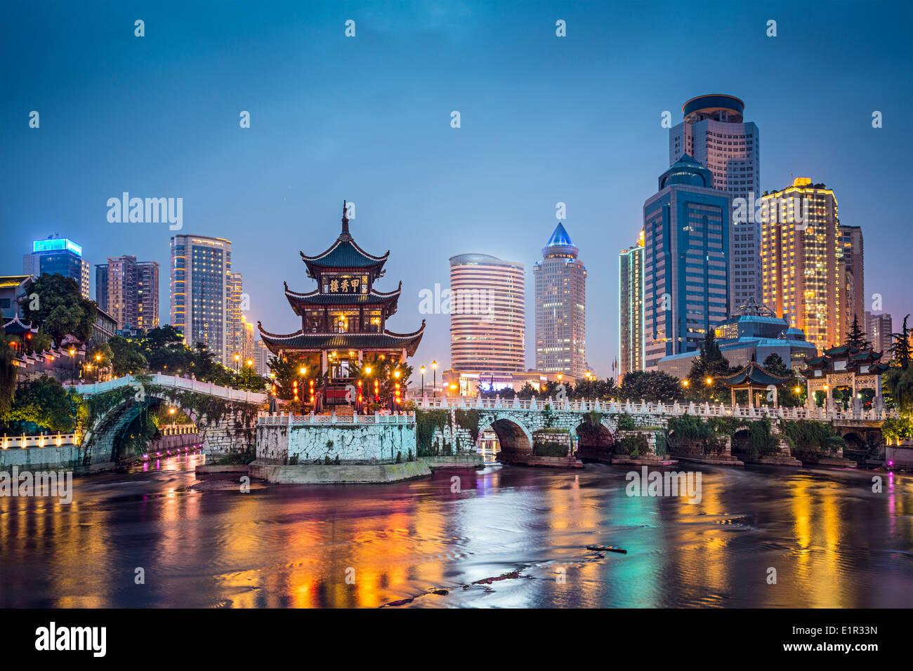 Guiyang, China skyline at Jiaxiu Pavilion on the Nanming River. - Stock Image