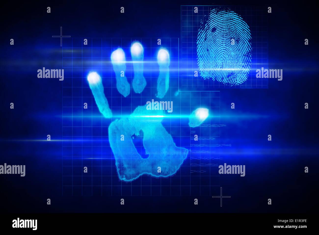 Digital Security Hand Print Scan Stock Photo 69963810 Alamy