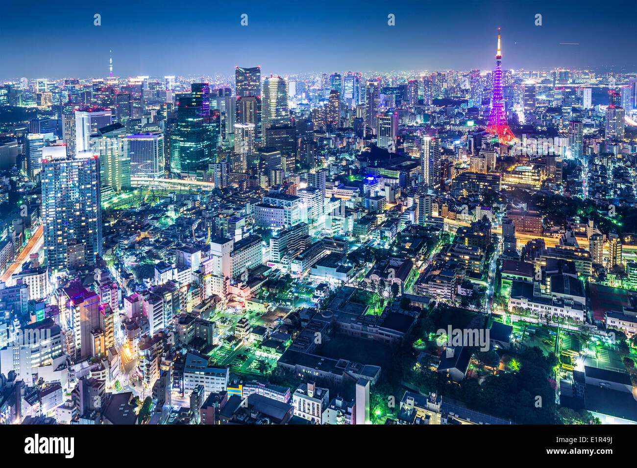 Tokyo, Japan city skyline with Tokyo Tower and Tokyo Skytree in the distance. Stock Photo