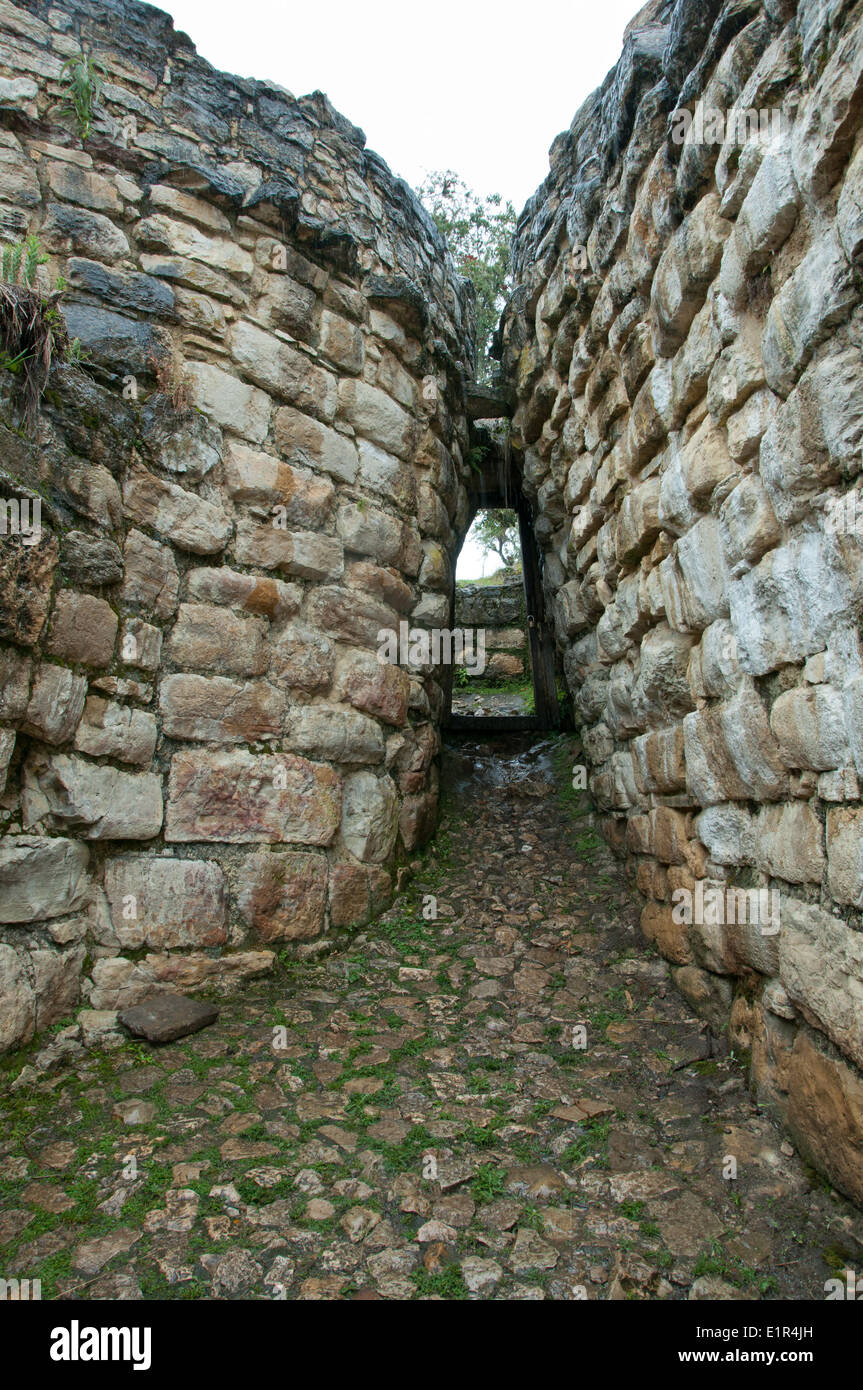 Entrance to the Fortress of Kuelap of the Chachapoya Culture in Northern Peru - Stock Image