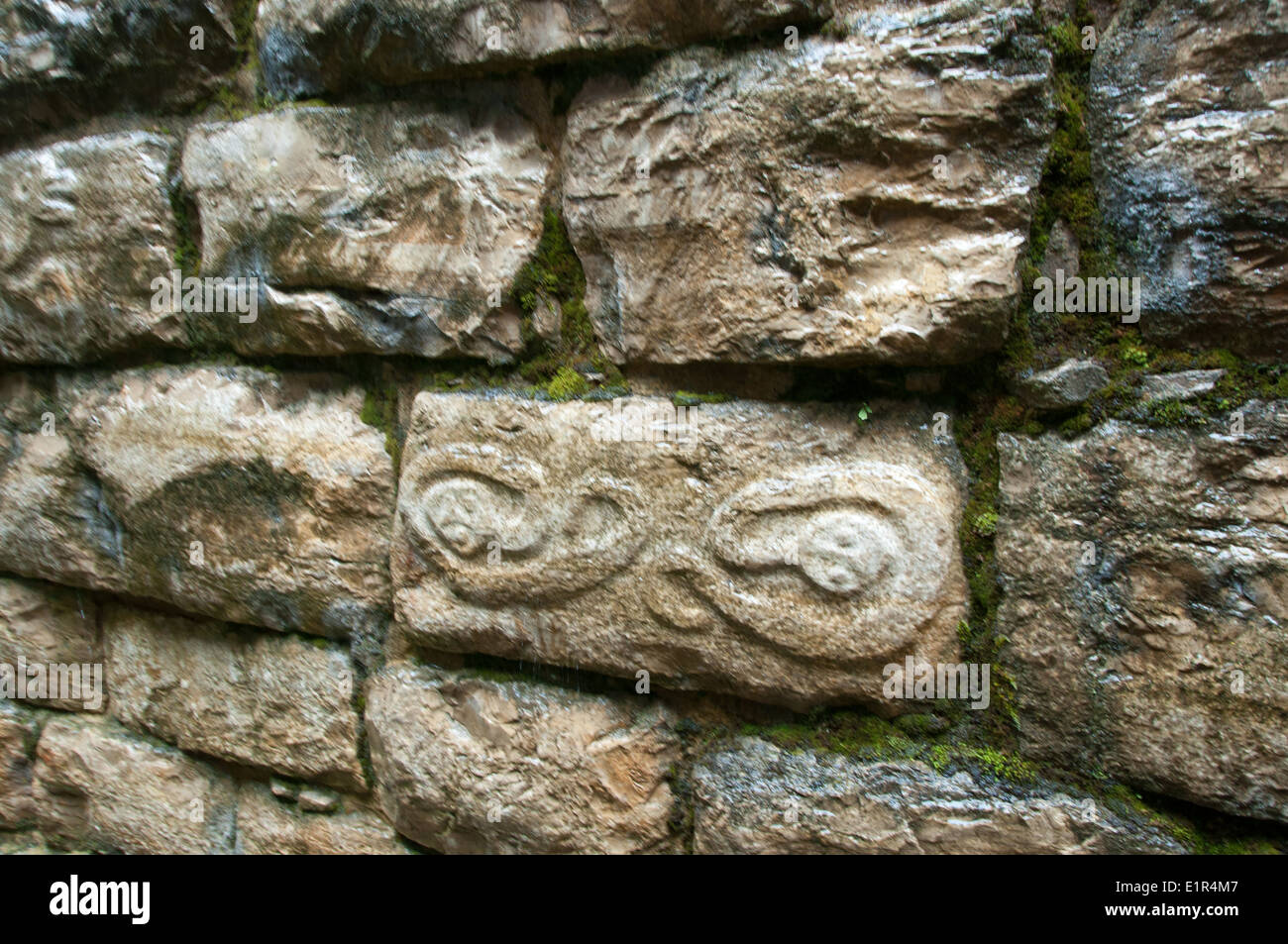 Stone Carvings in Walls at Kuelap Archaelogical Zone in Northern Peru - Stock Image