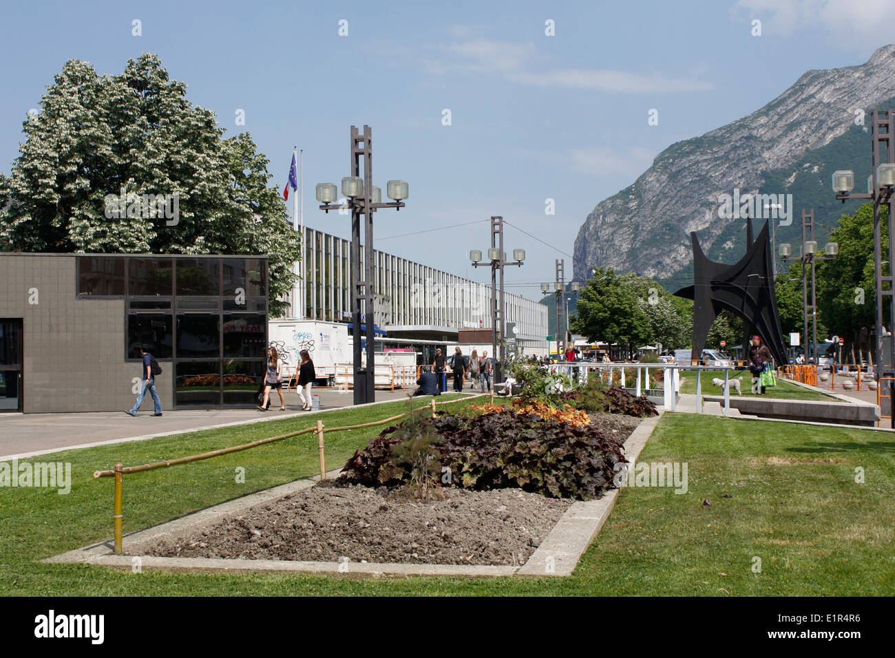 train station and garden city center of grenoble neighborhood of the train station isere rhone alpes france - Garden City Center