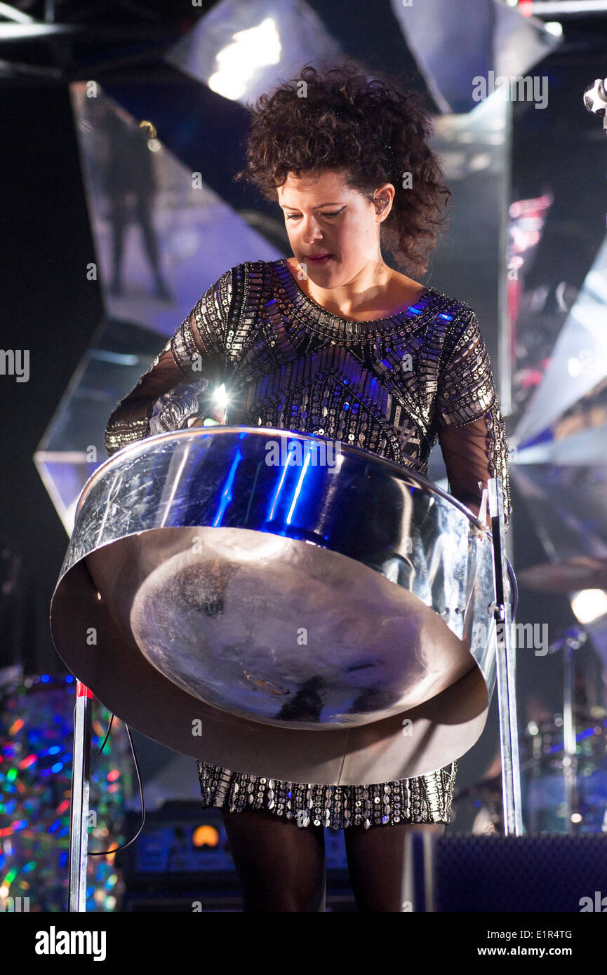 Arcade Fire plays Earls Court on 07/06/2014 at Earls Court, London.  Persons pictured: Régine Chassagne - Stock Image