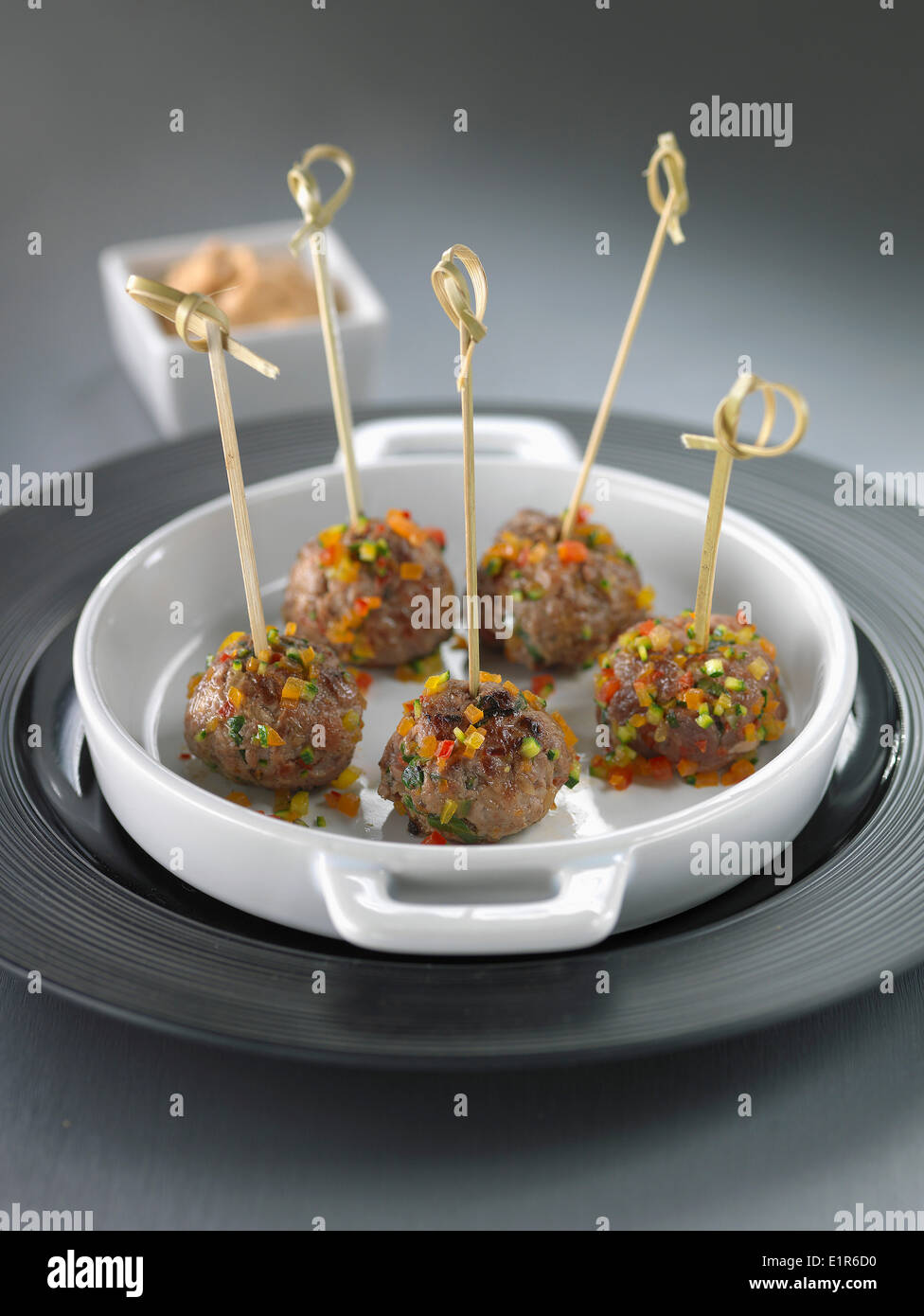 Lamb and pepper meat balls - Stock Image