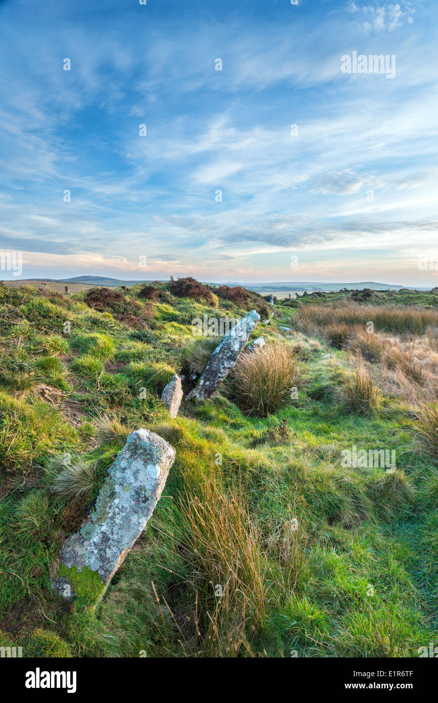 Standing stones at King Arthur's Hall a megalithic monument on Bodmin Moor in Cornwall - Stock Image