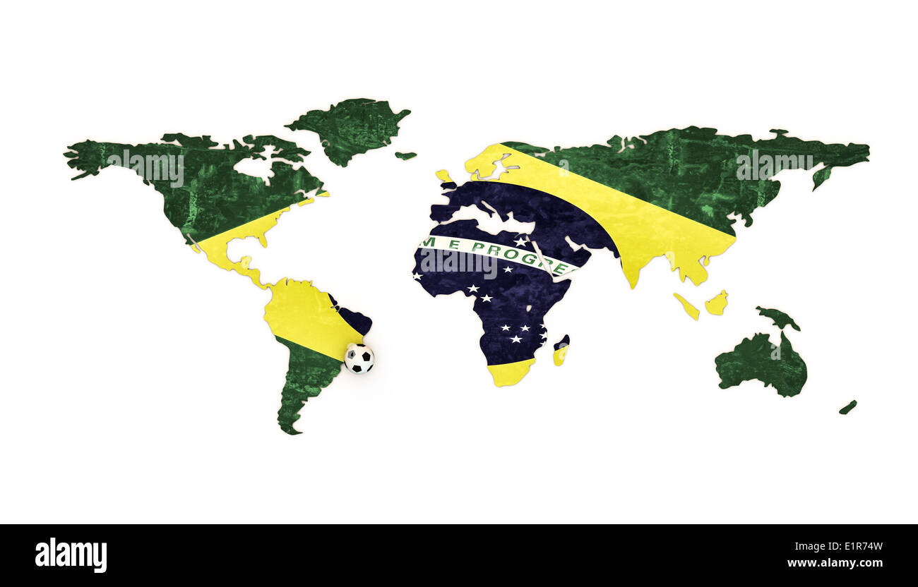 Picture of: World Map Covered With The Brazil Flag Isolated On White Background Stock Photo Alamy
