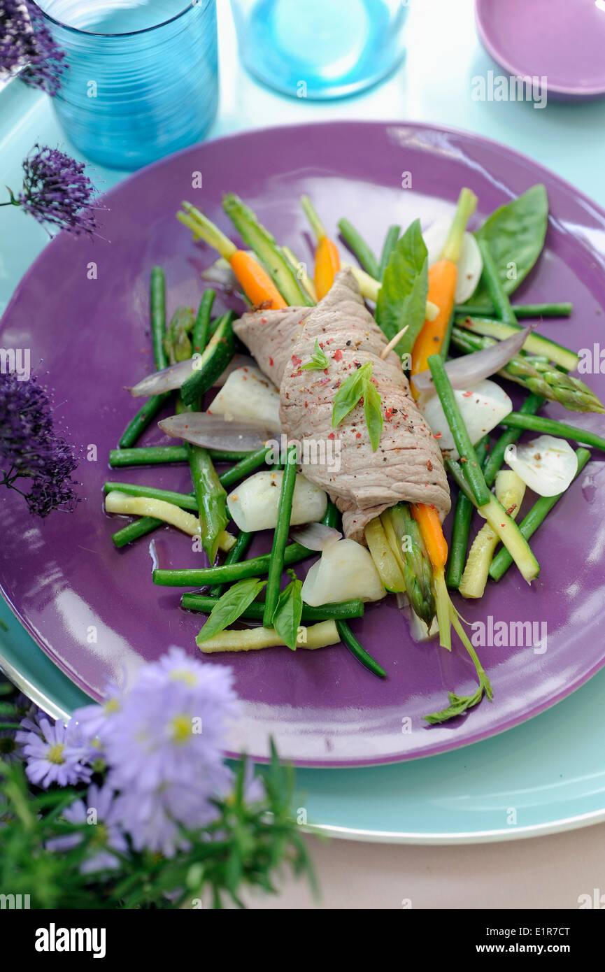 Beef fillet and vegetable Pot-au-feu - Stock Image