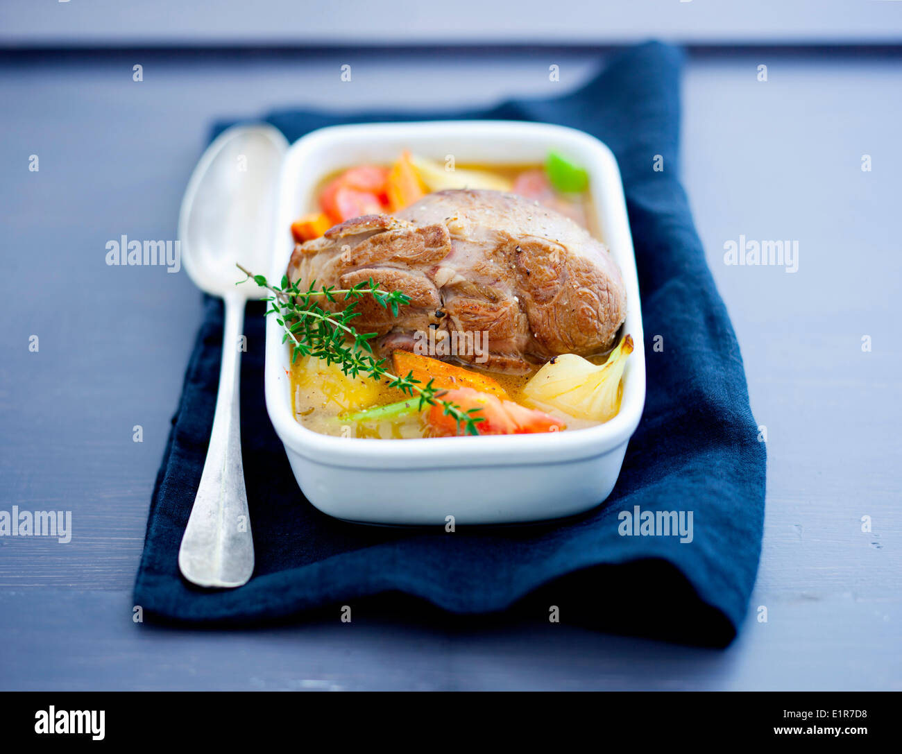 Leg of lamb with vegetables Stock Photo