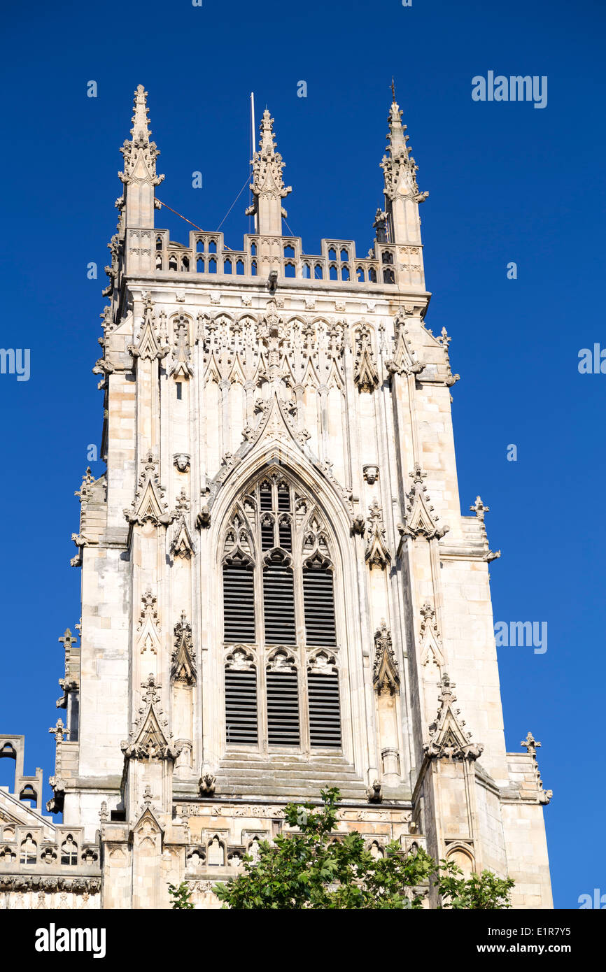 UK, York, one of the towers of York Minster Cathedral. - Stock Image