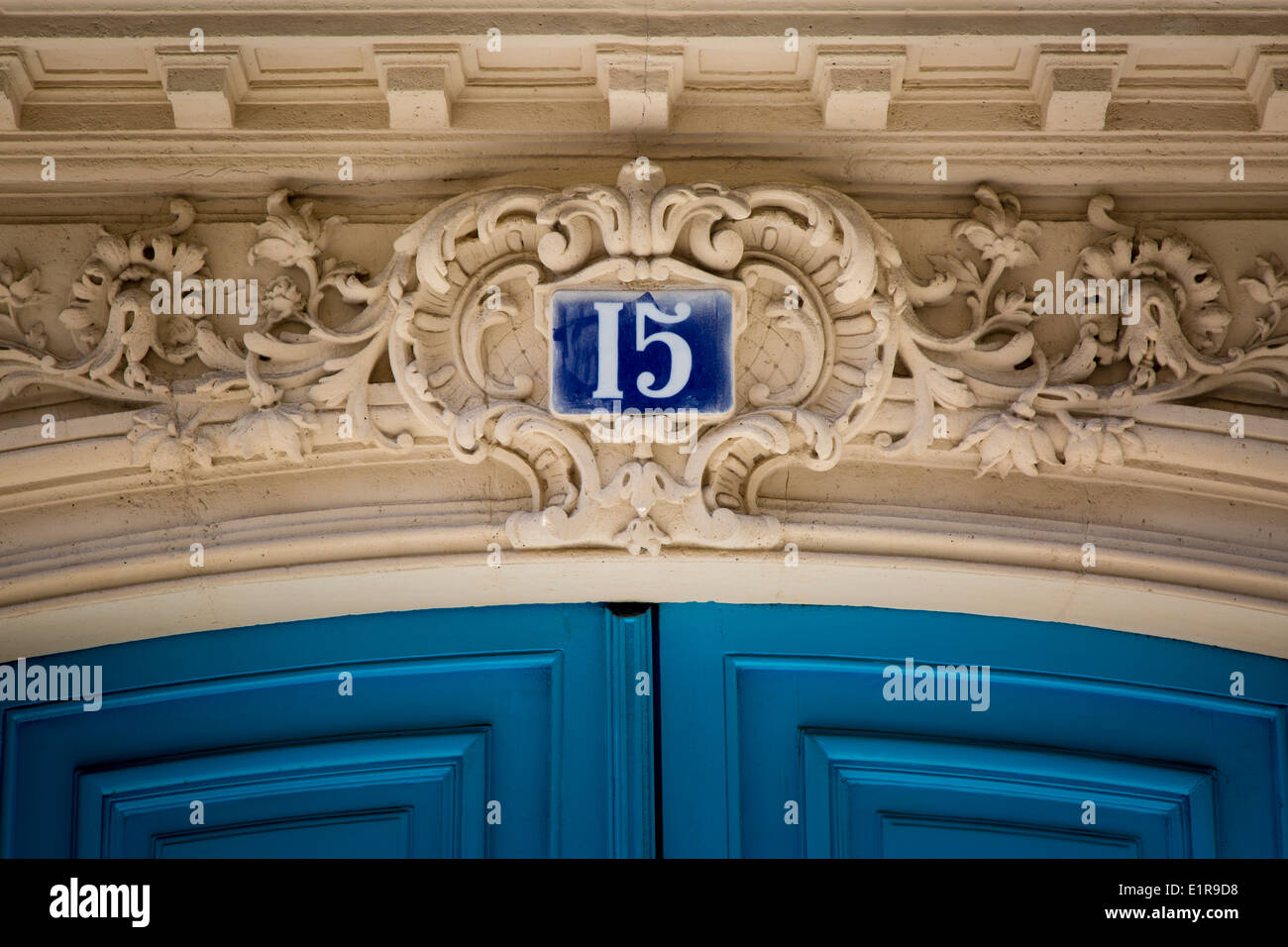 Address number above front door to home, Paris France Stock Photo