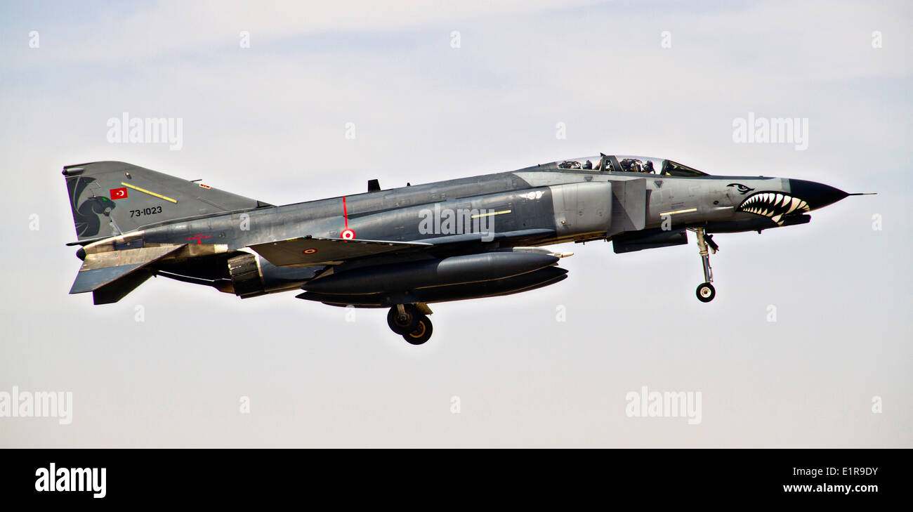 A Turkish Air Force F-4 Phantom II during a mission as part of Exercise Eager Lion May 29, 2014 in Jebel Petra, Jordan. - Stock Image