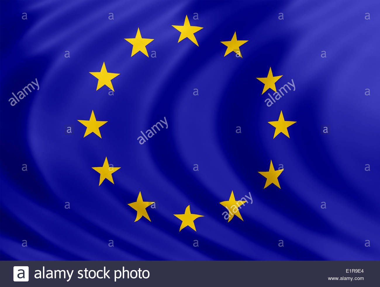 European Union flag icon of silk - Stock Image