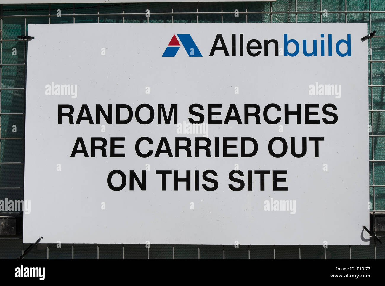 random searches are carried out on this site, notice at building site in wandsworth, london, england - Stock Image