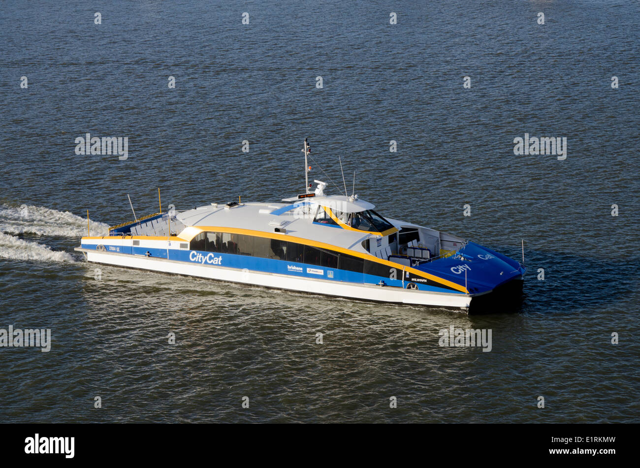 Australia, Queensland, Brisbane. City Cat high-speed city water taxi on the Brisbane River. - Stock Image