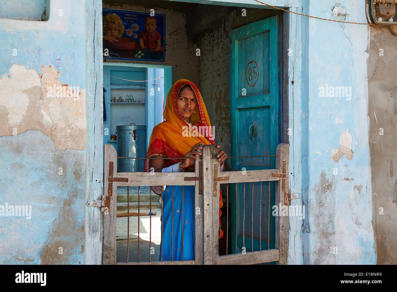 India, Rajasthan, Ghanerao village - Stock Image