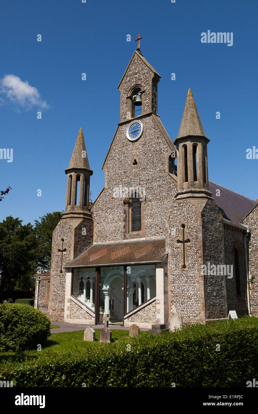 Flint stone built St James Church Emsworth with bell gable. - Stock Image
