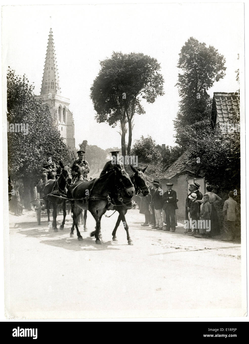 Indian cavalry & transport passing through a French town [Estrée Blanche]. . Stock Photo