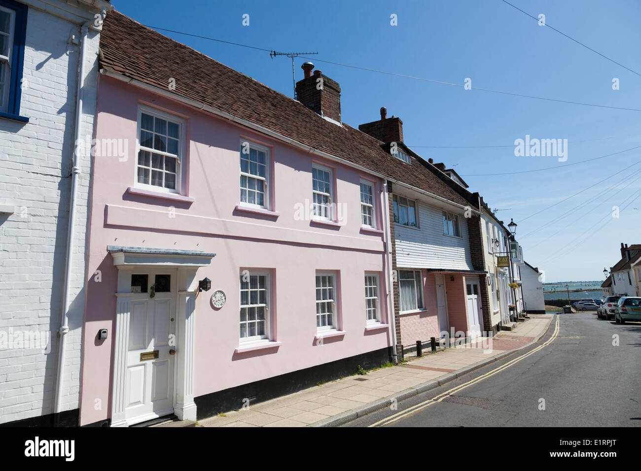 Old quaint, character, terrace houses in South Street Emsworth. - Stock Image