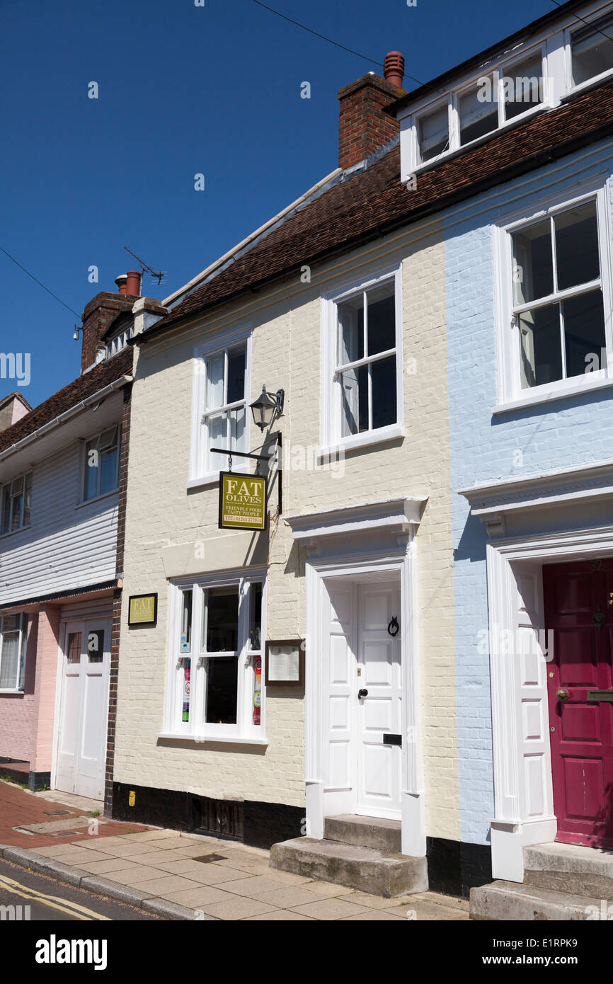 Fat Olives small restaurant in a terrace house Emsworth. - Stock Image