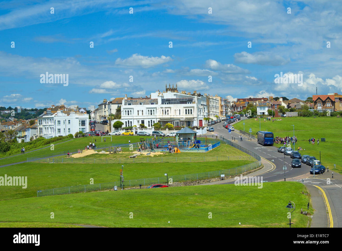 View inland on West Hill Hastings, East Sussex, GB - Stock Image