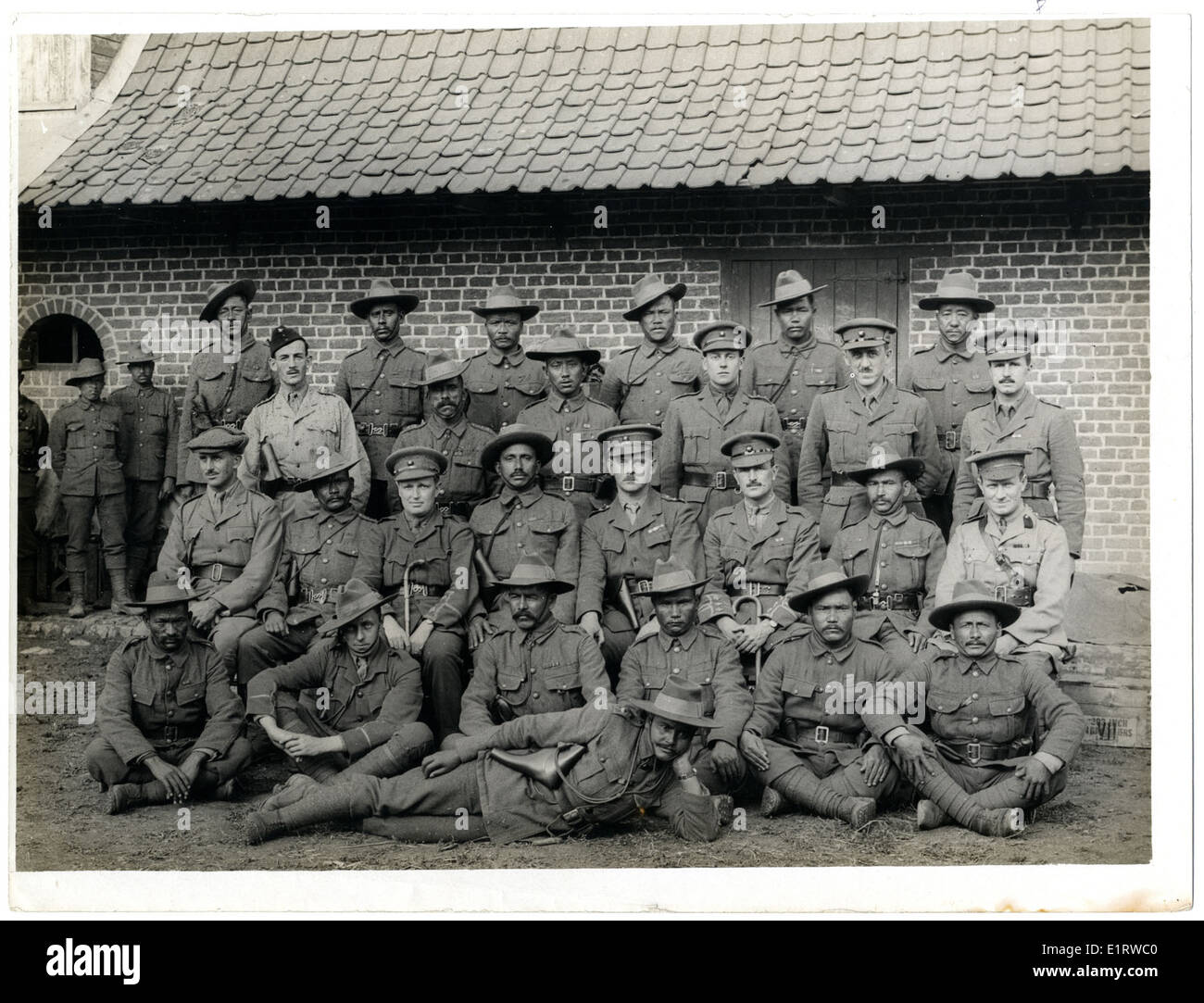 British & Indian officers 9th Gurkhas at their headquarters in France [St Floris]. . Stock Photo