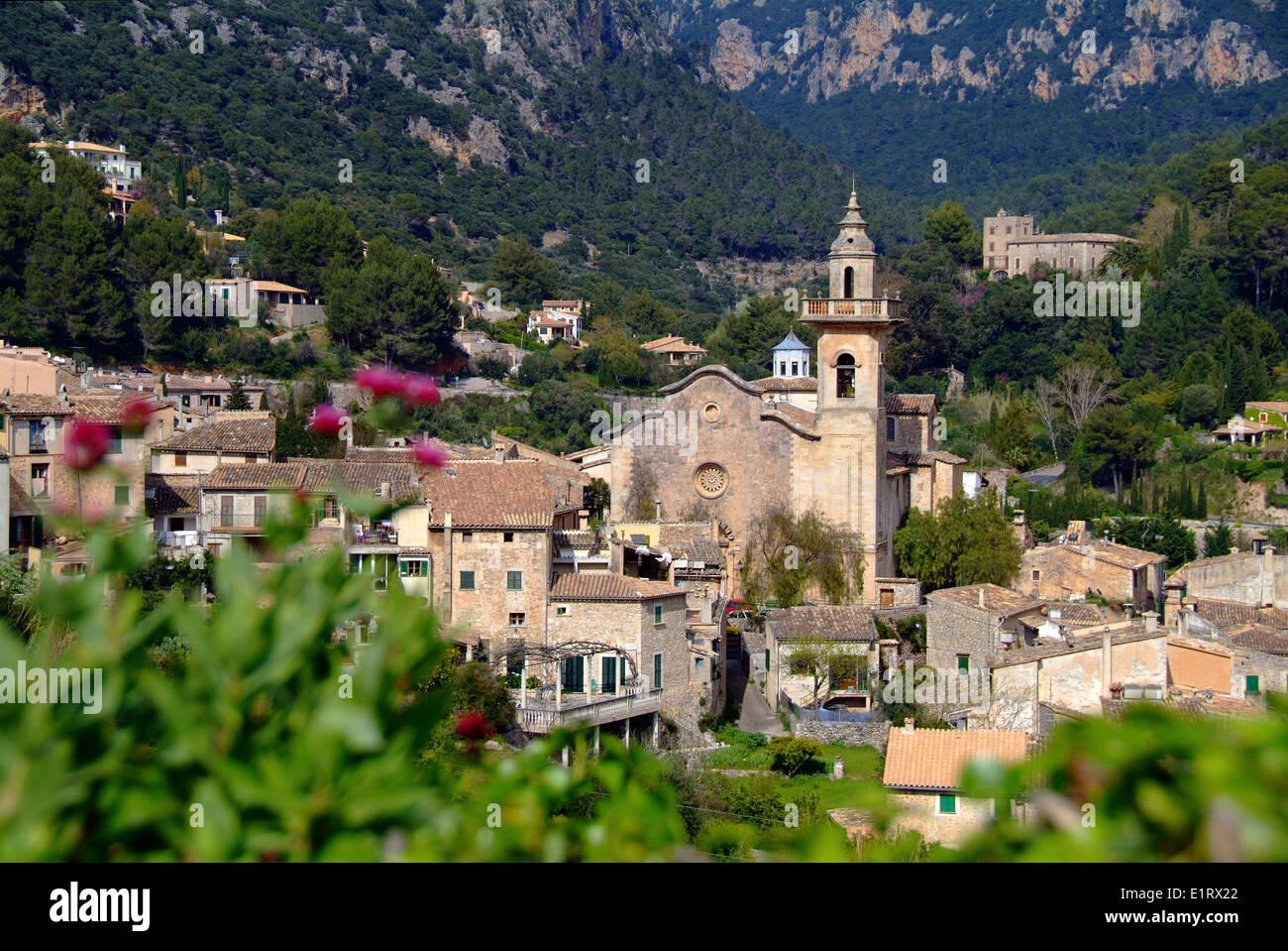 Overview to the village Valldemossa Valdemosa Majorca Spain - Stock Image