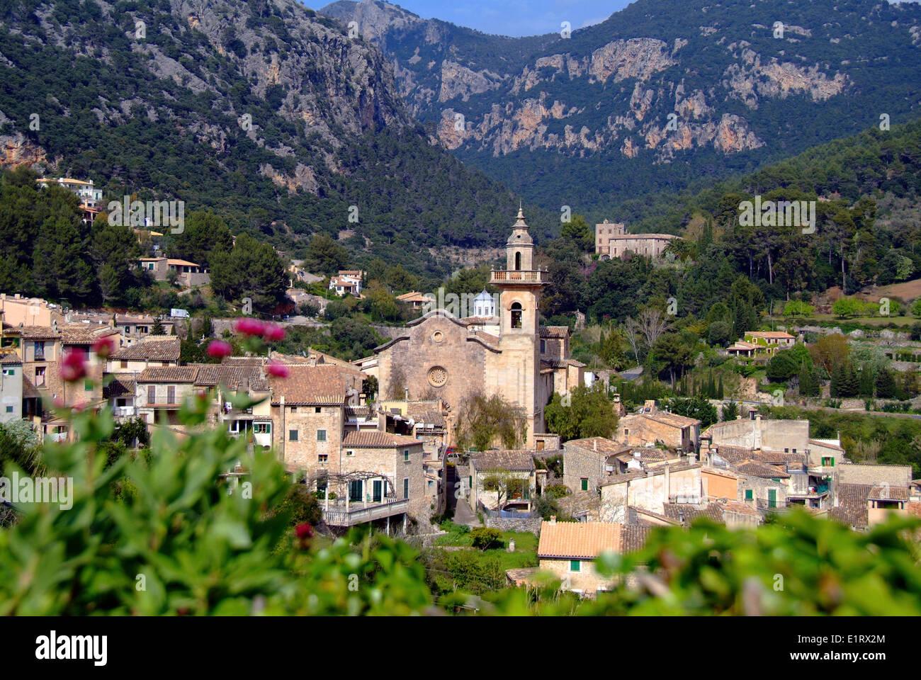 Overview to the village Valldemossa Valdemossa Majorca Spain Stock Photo