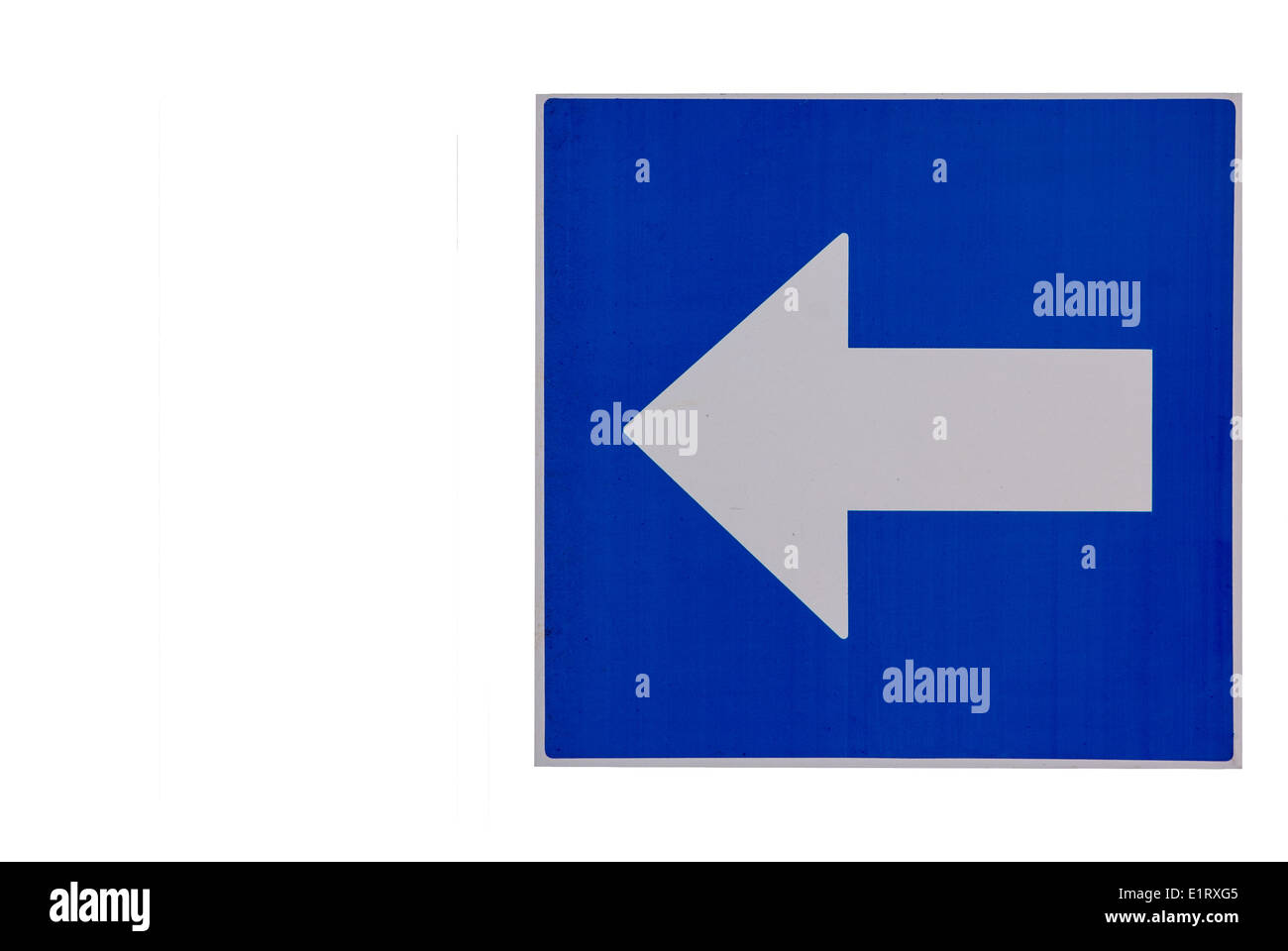 Road sign. Compulsory turn left only - Stock Image