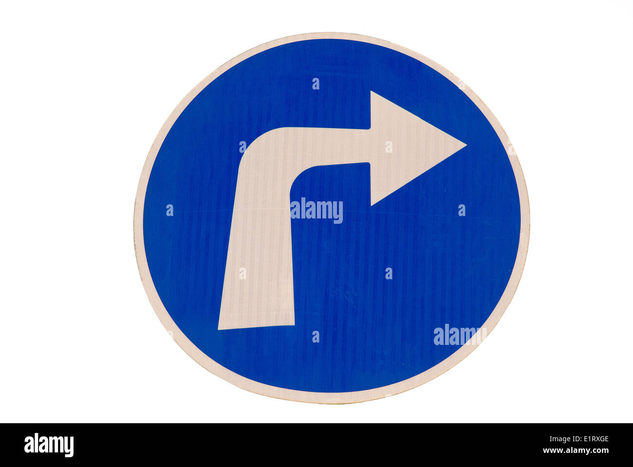 Road sign. Compulsory turn right only - Stock Image