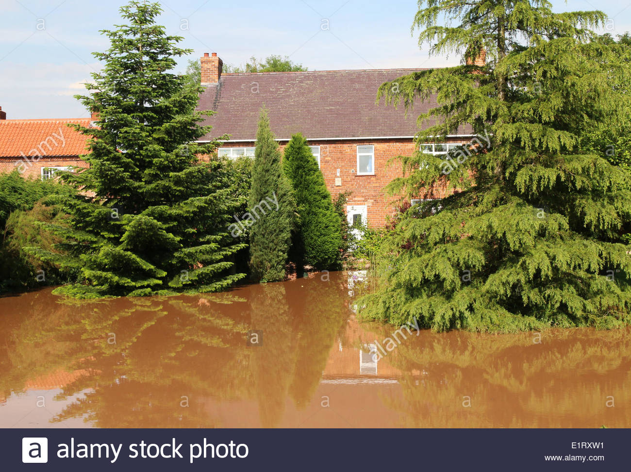 Clarborough, UK. 09th June, 2014. The effects of flash flooding after a viscious storm  in Clarborough, Near Retford, Stock Photo