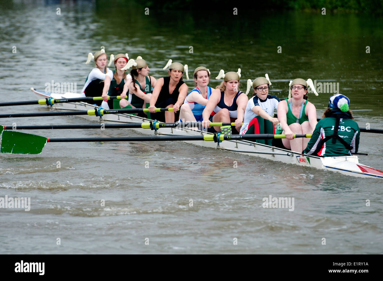 Oxford May Eights, a Jesus College ladies eight, Oxford, UK - Stock Image