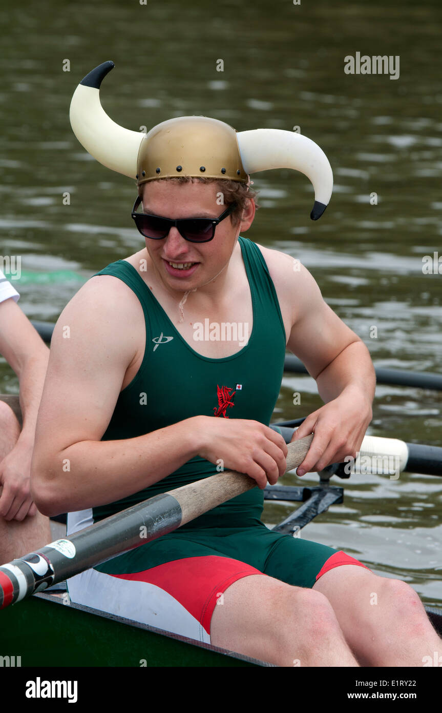 Oxford May Eights, a Jesus College men`s eight rower, Oxford, UK - Stock Image
