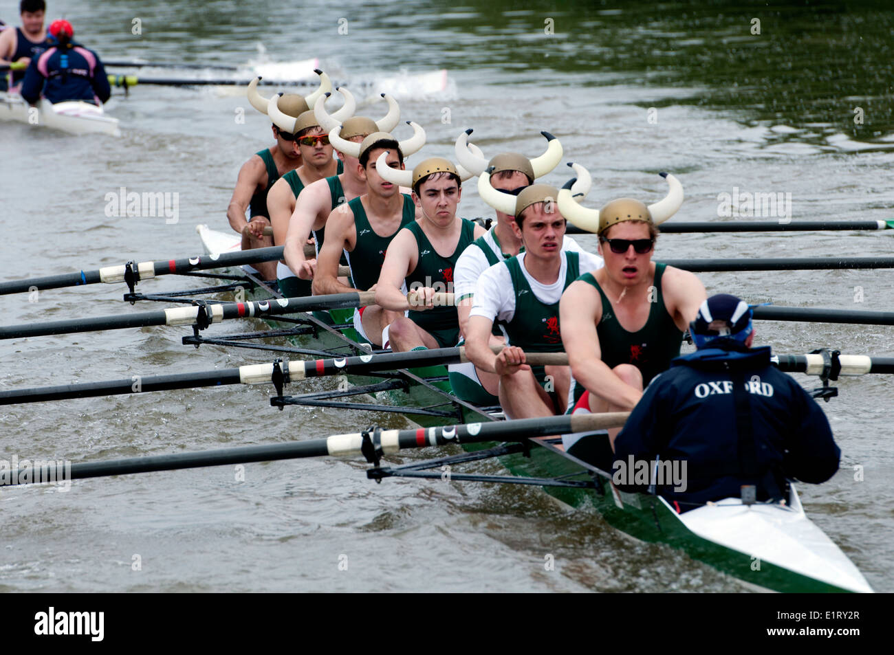 Oxford May Eights, a Jesus College men`s eight, Oxford, UK Stock Photo