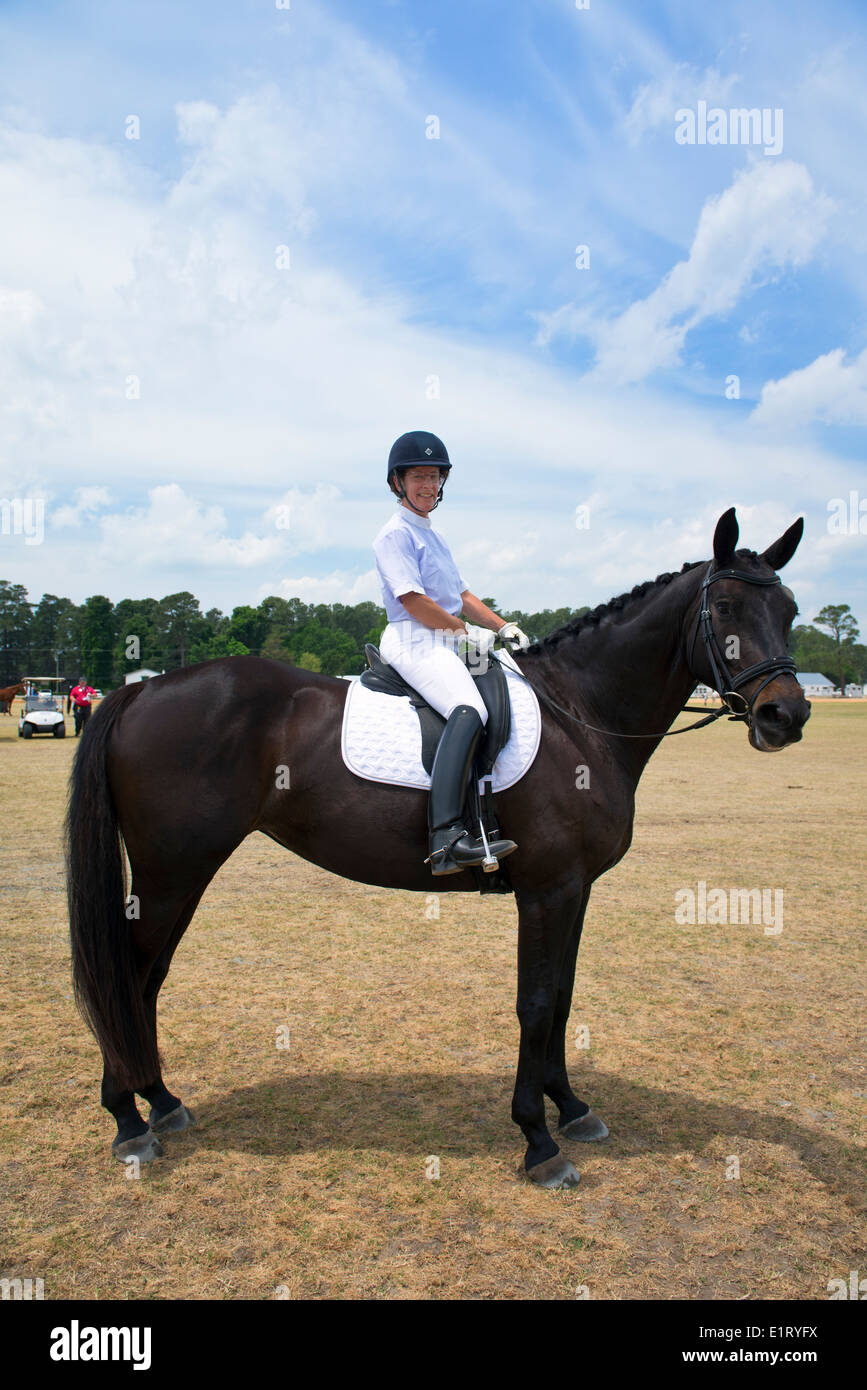 Competitor at the 'Dressage in the Sandhills' competition, Pinehurst, NC. - Stock Image