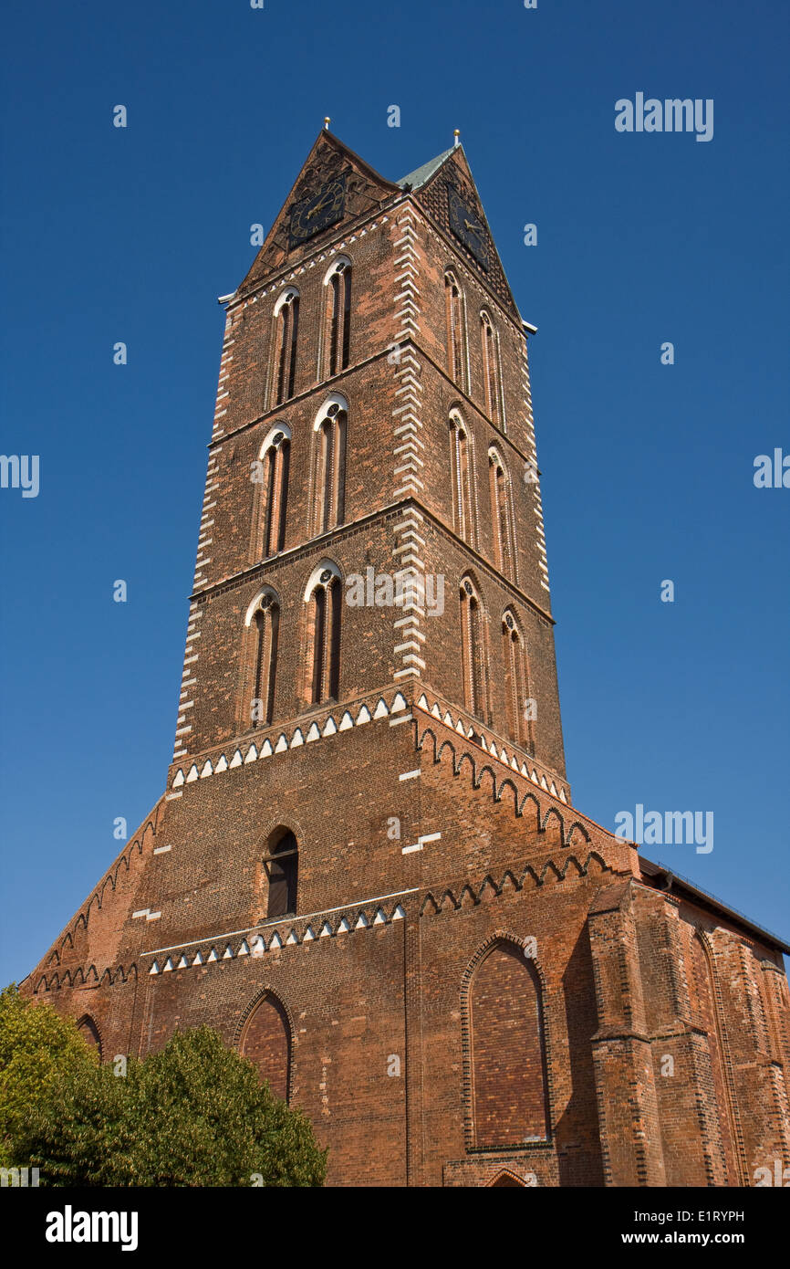Europe, Germany, Mecklenburg-Western Pomerania,Wismar,Marienkirche, St. Mary's Church Tower - Stock Image