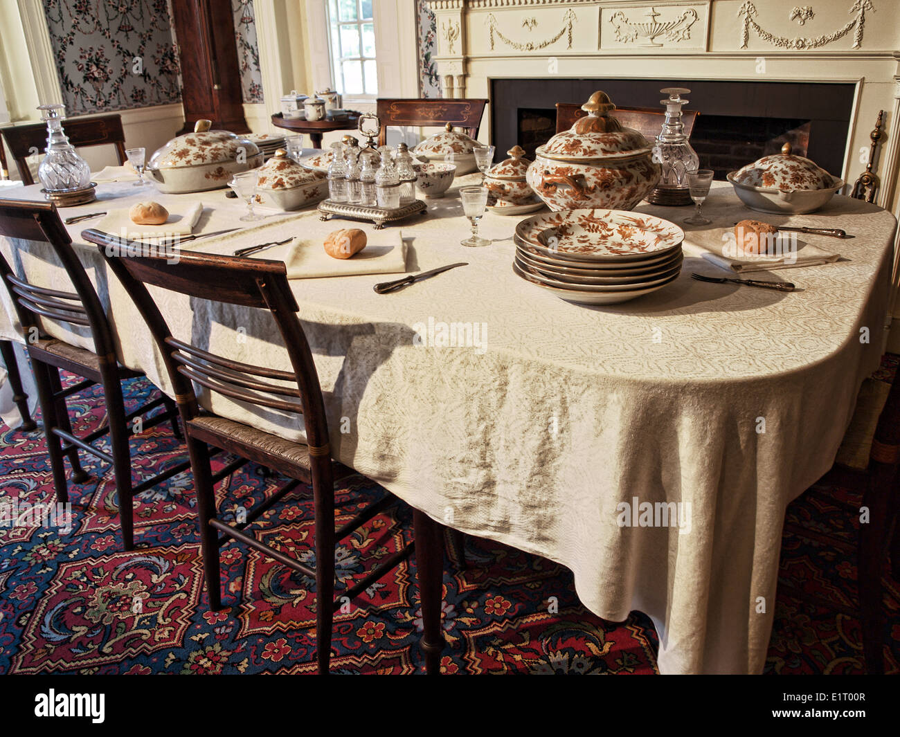 old fashioned dining room table Stock Photo