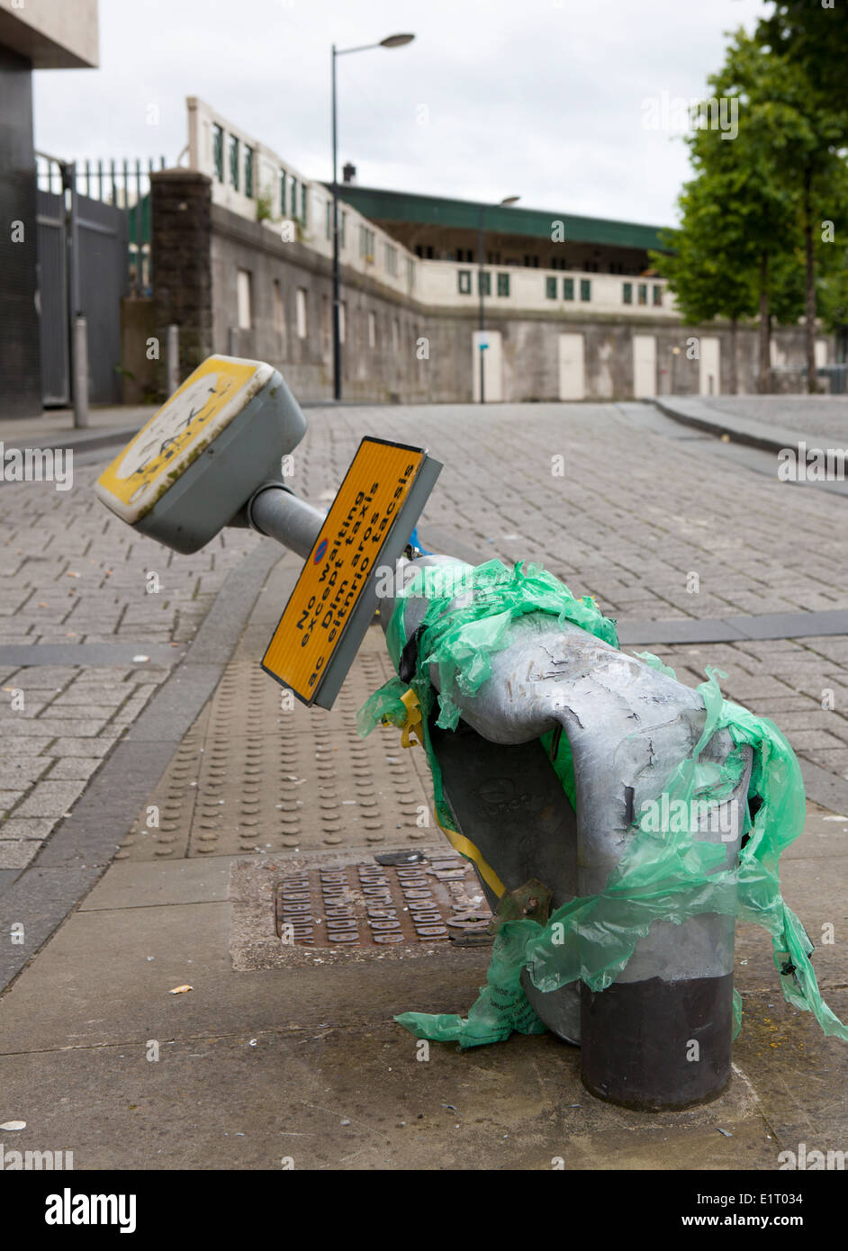 Damaged street furniture in Manchester after traffic accident, UK - Stock Image
