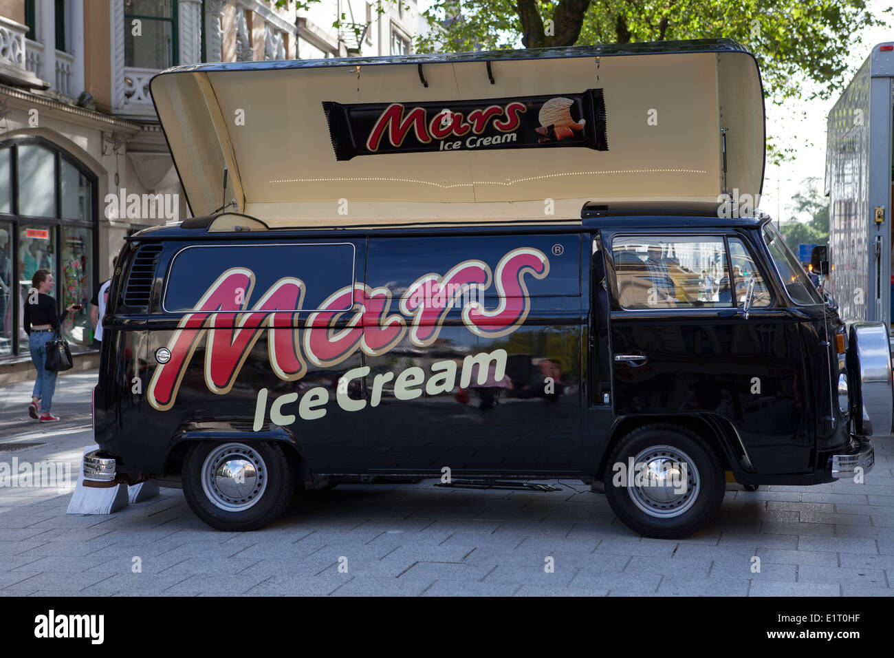 Great Mars Ice Cream Promotional VW Camper Type Vehicle In Cardiff, Wales, UK    Stock