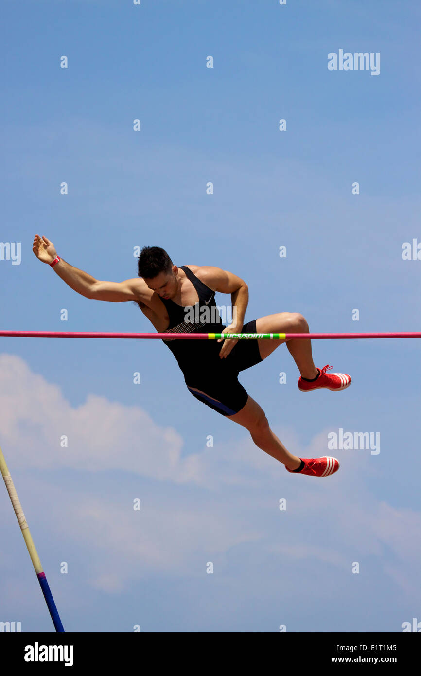 British pole vaulter Jack Phipps clears the bar at a meet at Mt Sac in Walnut California - Stock Image